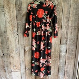 Asos Long Sleeved Floral Flower Maxi Keyhole Neck